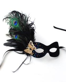 Peacock & Black Rhinestone Butterfly Mask a