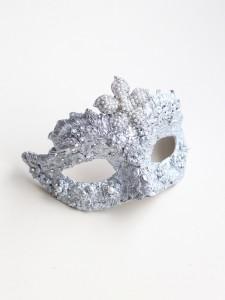 Petite Pearl Silver Swarovski Crystal Ornate Jewelled Mask