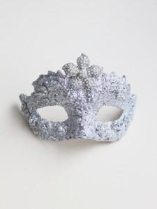 Petite Pearl Fleur Silver Swarovski Embellished Masquerade Mask