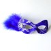 Royal Blue & Silver Lace Eye Mask with small feathers & jewel