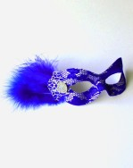 Royal Blue & Silver Lace Eye Mask with small feathers & jewel b