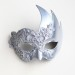 Womens Silver Lace Swan Masquerade Mask with Rhinestones