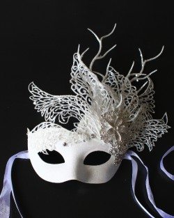 Unique Winter Ice Swan Mask with Diamante Flowers