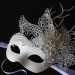 Unique Winter Ice Swan Mask with Diamante Flowers b
