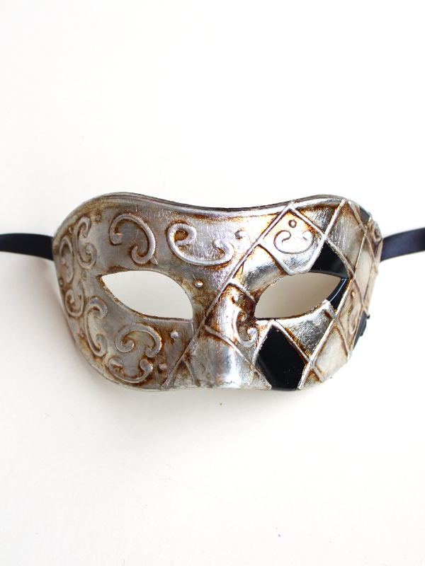 Venetian Black & Silver Half Harlequin Mask