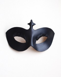 Womens Black Leather Curved Eyelash Eye Mask