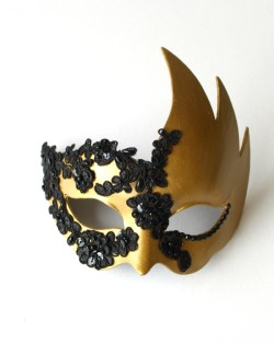 Womens Luxury Gold Swan Mask with Black Lace Detail