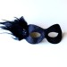 Midnight Blue Masquerade Eye Mask with small feathers