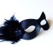 Midnight Blue Masquerade Eye Mask with small feathers b