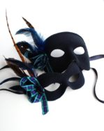 couples matching scottish tartan blue & black masquerade masks