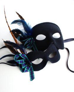 couples matching scottish tartan blue & black masquerade masks
