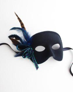 mens tartan scottish blue & black masquerade mask