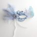 womens ice blue & silver metal filigree masquerade mask