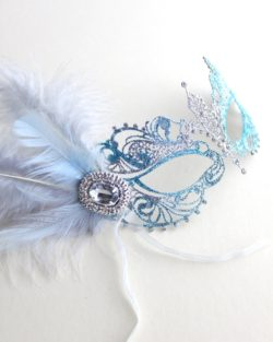 womens ice blue & silver metal filigree masquerade mask c