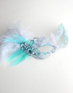 womens mint ice & silver metal filigree masquerade mask a