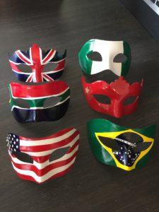 Masquerade Masks with Country USA, UK, China, Nigeria, Brazil Flags