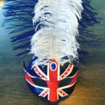 97. British Royal Flag Mask red white blue with pearls