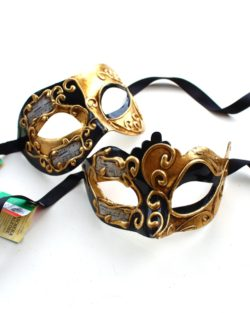 Couple's Black & Gold Genuine Venetian Masquerade Half Masks