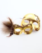 Couple's Matching Gold Bronze Brown Masquerade Masked Ball Eye Masks
