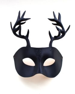 Handmade Black Leather Stag Mask with horns and stag motif