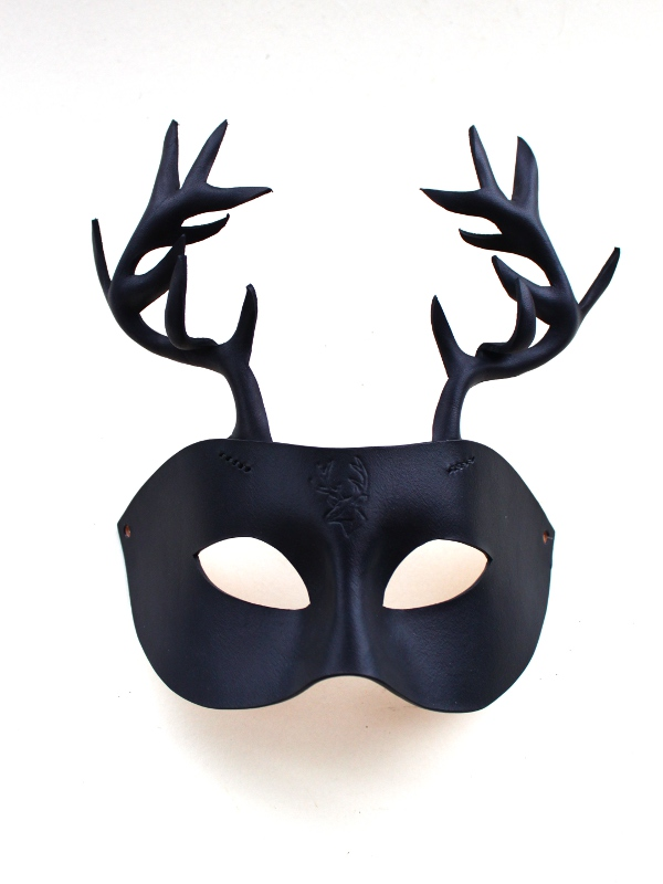 Black Leather Horned Stag Mask