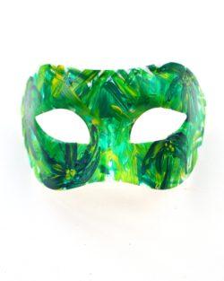 Mardi Gras Tropical Green & Yellow Palm Tree Masquerade Mask b
