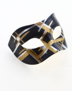 Mens Black, Silver, Gold Striped Contemporary Venetian Masked Ball Mask b