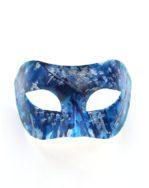Mens Blue & Silver Venetian Art Designer Painted Masquerade Mask