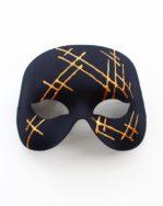 Mens Modern Black & Gold Designer Masked Ball Party Mask