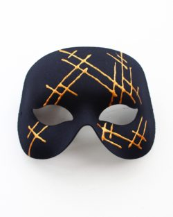 Mens Modern Black & Gold Designer Masked Ball Party Mask