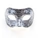 Mens Silver Black Archimedes Owl Venetian Masquerade Half Mask
