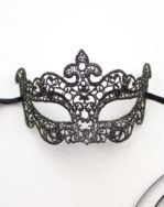 Petite Venetian Lace Filigree Eye Mask in Black & Gold