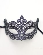 Petite Venetian Lace Filigree Eye Mask in Black & Silver