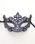 Petite Venetian Lace Filigree Eye Mask in Black & Silver