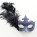 Pewter & Black Feather Masked Ball Masquerade Mask with Lace detail