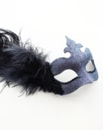 Pewter & Black Feather Masked Ball Masquerade Mask with Lace detail b