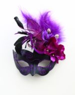Purple & Black Handmade Floral Masked Ball Masquerade Mask b