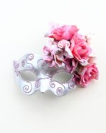 Romance Pink & Silver Floral Masked Ball Mask