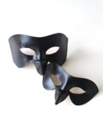 Couple's Matching Black Raven Bird Beak Leather Masquerade Masks