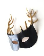 Handmade Black & Gold Leather Horned Stag Mask