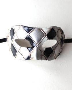 blackwhitegreycheckersvenetianmask