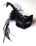 headband black & white masquerade mask