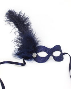 Navy Blue masquerade mask with feathers and diamante