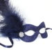 Navy Blue masquerade mask with feathers and diamante b