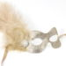 beige champagne gold masquerade mask with feathers & diamante 2