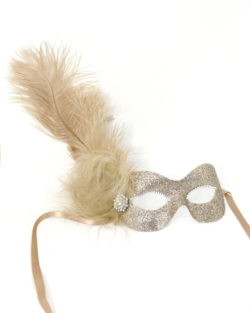 beige champagne gold masquerade mask with feathers & diamante