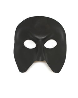 black leather full face masquerade mask