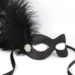 black masquerade mask with feathers and diamante b