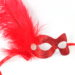 red glitter masquerade mask with feathers and diamante 2