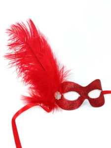 cf345f9662b red glitter masquerade mask with feathers and diamante - Masque ...